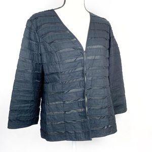 Chico's Black Stripe with Sheer Panels Jacket S 1